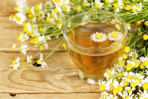 cup of chamomile tea with chamomile flowers on wooden planks
